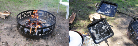 heating up the camp cooker